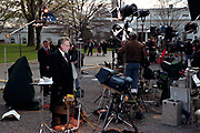 CNN White House reporter Wolfe Blitzer and other television reporters broadcast from the White House following the impeachment of U.S President Bill Clinton December 19, 1998 in Washington, DC.  The US House of Representatives impeached Clinton on charges of perjury and obstruction of justice. Clinton rejected calls for his resignation and vowed to continue in office.