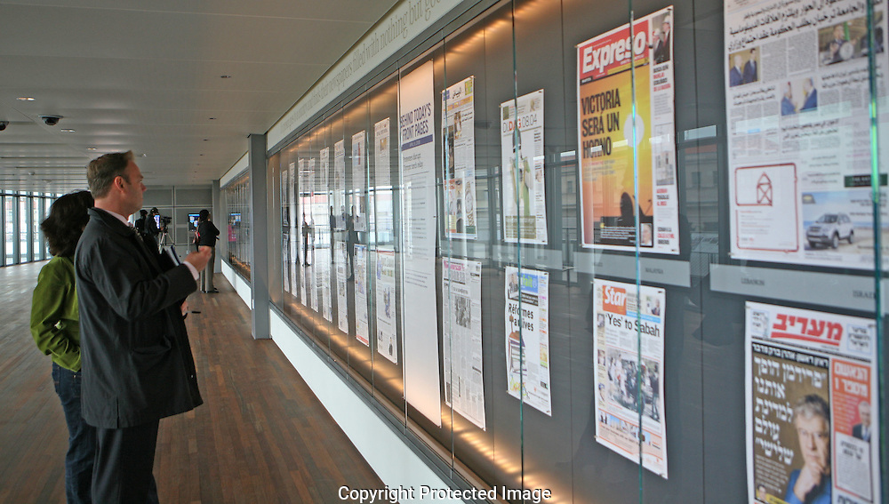Today's front pages from newspapers around the world are on the sixth level of  the Newseum in Washington, DC on April 8, 2008.  Photograph: Dennis Brack