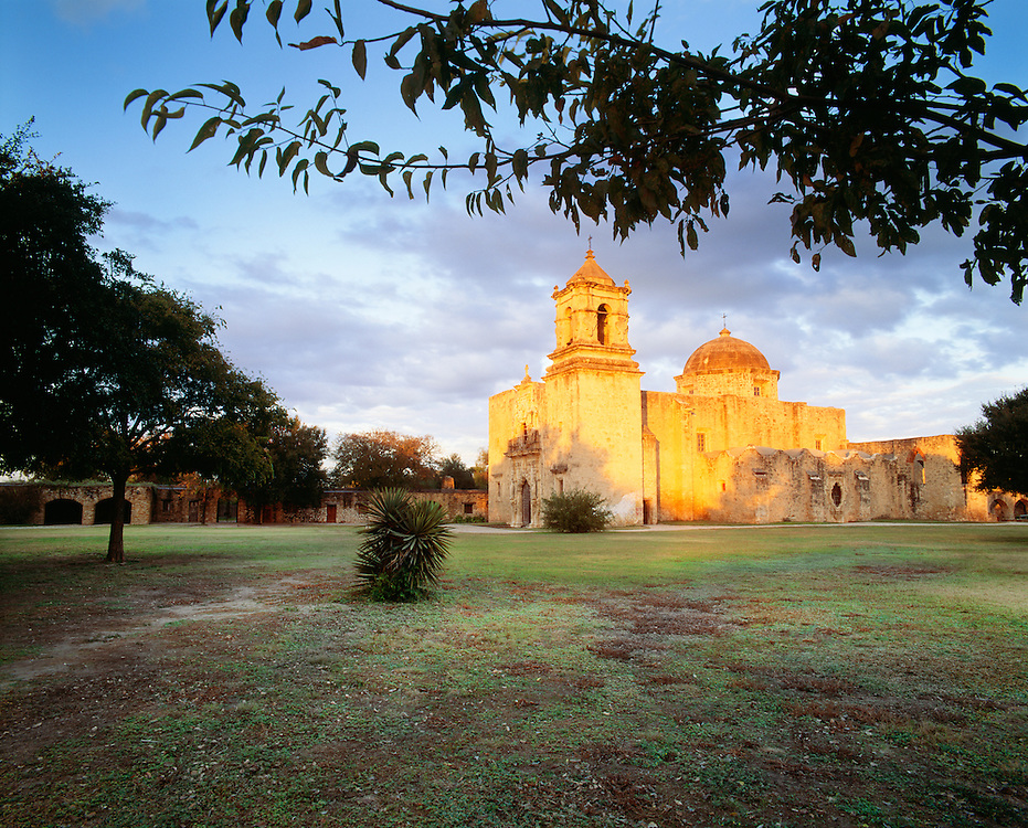 0506-1000C ~ Copyright: George H. H. Huey ~ Church at Mission San Jose y San Miguel de Aguayo, at sunset. San Antonio Missions National Historical Park, Texas.