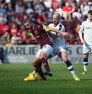 Hearts&rsquo; Perry Kitchen and Dundee&rsquo;s James Vincent - Hearts v Dundee in the Ladbrokes Scottish Premiership at Tynecastle, Edinburgh, Photo: David Young<br /> <br />  - &copy; David Young - www.davidyoungphoto.co.uk - email: davidyoungphoto@gmail.com