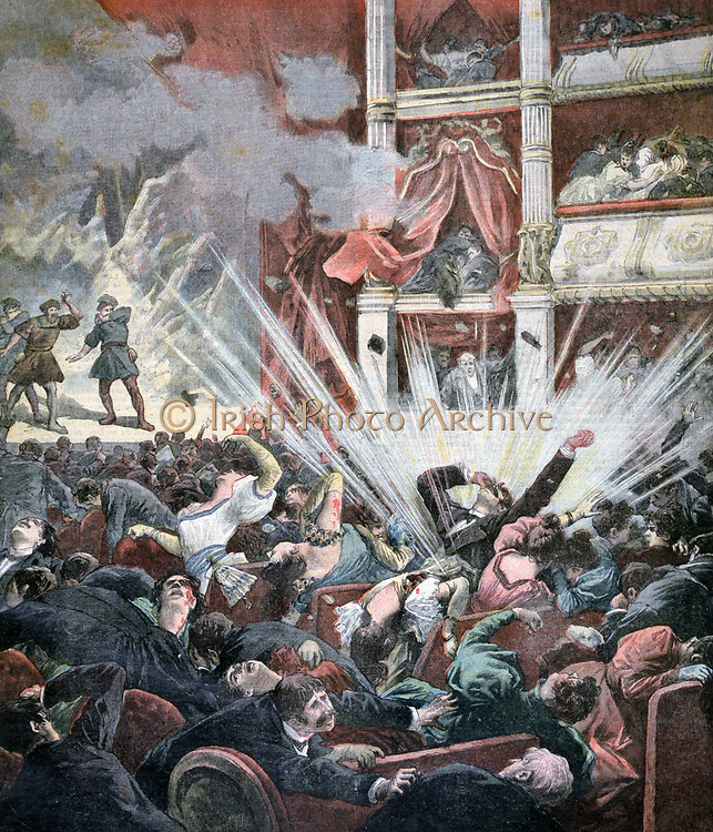 Anarchist atrocity in Spain: Explosion of a bomb in the stalls of the Licee Theatre, Barcelona, during the second act of the opera 'William Tell'. About 30 dead and about 50 injured.  From 'Le Petit Journal', Paris, 25 November 1893.