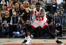 BELGRADE, Nov. 3, 2017  Brose Bamberg's Augustine Rubit (L) vies with Crvena Zvezda's Mathias Lessort during the Euroleague basketball regular season match between Crvena Zvezda and Brose Bamberg in Belgrade, Serbia on Nov. 2. 2017. Brose Bamberg won 75-69. (Credit Image: © Predrag Milosavljevic/Xinhua via ZUMA Wire)