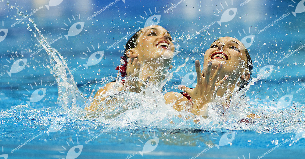 Spain ESP.CARBONELL Ona FUENTES Andrea.Duet Free .London 2012 Olympic Synchronised Swimming Qualification Tournament.Photo G.Scala/Deepbluemedia/Wateringphoto..