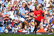 Manchester United Women defender Lotta Okvist (3) and Manchester City Women midfielder Jill Scott (8) in action during the FA Women's Super League match between Manchester City Women and Manchester United Women at the Sport City Academy Stadium, Manchester, United Kingdom on 7 September 2019.