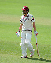 Dejection for Somerset's James Hildreth after being dismissed. Photo mandatory by-line: Harry Trump/JMP - Mobile: 07966 386802 - 09/05/15 - SPORT - CRICKET - Somerset v New Zealand - Day 2- The County Ground, Taunton, England.