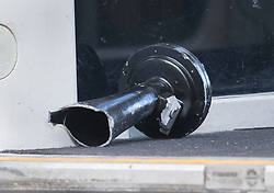 © Licensed to London News Pictures. 17/02/2018. Horsham, UK. A damaged train horn is seen inside a train that earlier hit a car on a level crossing killing two near the village of Barns Green. Photo credit: Peter Macdiarmid/LNP