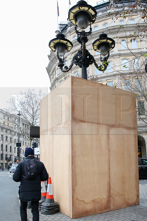 © Licensed to London News Pictures. 30/12/2018. London, UK. Security boards are erected in Whitehall ahead of New Year celebrations. Photo credit: Dinendra Haria/LNP
