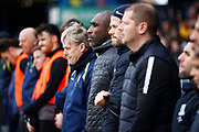 Southend United manager Sol Campbell paying his respect at the one minutes applause for 14 year old Lilly Whythe during the EFL Sky Bet League 1 match between Southend United and Burton Albion at Roots Hall, Southend, England on 22 February 2020.