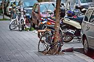 Roma 9 Ottobre  2014<br />  Un uomo smonta una bicicletta legata ad un albero per prendere i pezzi, al quartiere Pigneto<br /> Rome October 9, 2014<br /> A man disassembles a bicycle tied to a tree to pick up the pieces to Pigneto neighborhood.