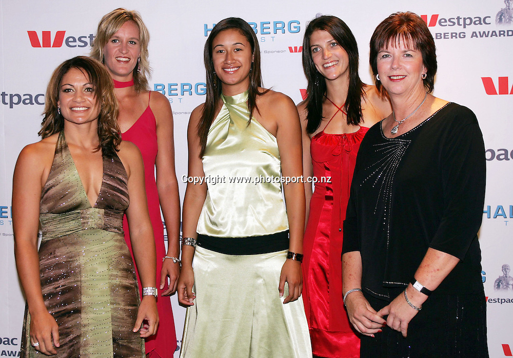 Team of the Year finalists - Silver Ferns (L-R) Temepara George, Leana De Brun, Maria Tutai, Anna Scarlett and coach Ruth Aitken at the Westpac Halberg Awards at Sky City, Auckland, New Zealand on Thursday 15 February 2007. Photo: Hannah Johnston/PHOTOSPORT<br /> <br /> <br /> <br /> 150207