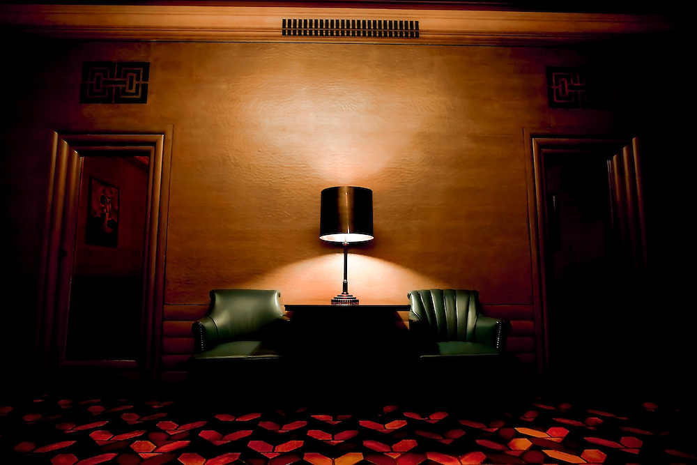 Lounge area of Art Deco theatre, The Paramount, in Oakland, CA.  Copyright 2009 Reid McNally.