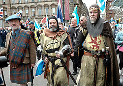 All Under One Banner Independence March, Glasgow, Saturday 4th May 2019<br /> <br /> Pictured: Robert the Bruce attended the march <br /> <br /> Alex Todd | Edinburgh Elite media