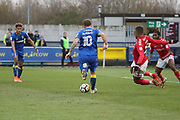 AFC Wimbledon striker Cody McDonald (10) about to set up AFC Wimbledon striker Lyle Taylor (33) for a goal during the The FA Cup match between AFC Wimbledon and Charlton Athletic at the Cherry Red Records Stadium, Kingston, England on 3 December 2017. Photo by Matthew Redman.