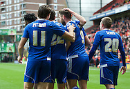 Daryl Murphy (9) of Ipswich Town celebrates with his team mates after scoring the opening goal during the Sky Bet Championship match at The Valley, London<br /> Picture by Alan Stanford/Focus Images Ltd +44 7915 056117<br /> 28/11/2015