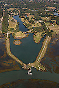 Aerial view the home of Buddy Darby owner of the Beach Company real estate developers in Mt Pleasant, SC.