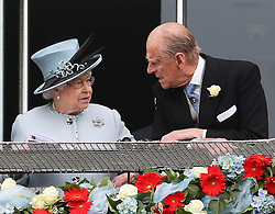 The Queen and Duke of Edinburgh in the Royal Box at the Epsom Derby in Epsom, England, Saturday 1st June 2013 Picture by Stephen Lock / i-Images