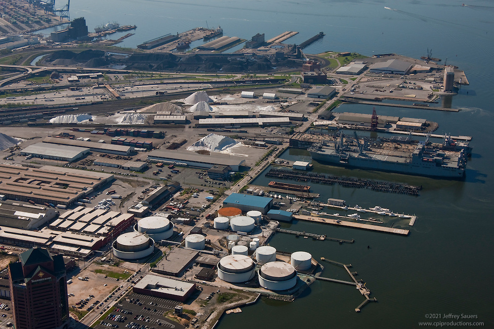 Aerial photo of Rukert and Clinton St. Terminals of Maryland Port Administration.Port of Baltimore.