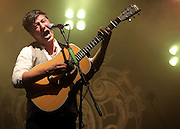 Marcus Mumford of Mumford and Sons performs live on the NME Radio 1 stage during day one of Reading Festival on August 27, 2010 in Reading, England.  (Photo by Simone Joyner)