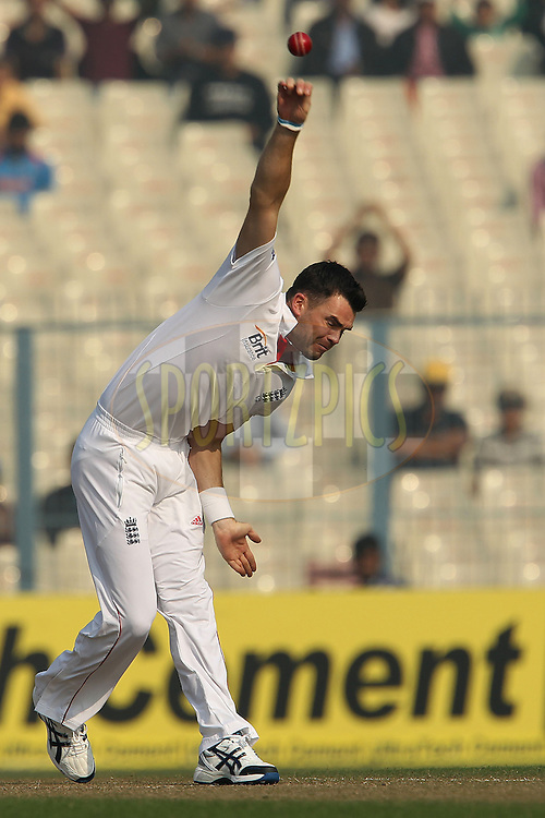 James Anderson of England during day one of the 3rd Airtel Test Match between India and England held at Eden Gardens in Kolkata on the 5th December 2012..Photo by Ron Gaunt/BCCI/SPORTZPICS ..Use of this image is subject to the terms and conditions as outlined by the BCCI. These terms can be found by following this link:..http://www.sportzpics.co.za/image/I0000SoRagM2cIEc