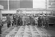 18/07/1967<br /> 07/18/1967<br /> 18 July 1967<br /> Group of Russians arrive in Dublin for Irish holiday. The group were in Ireland for 10 days and intended to visit Dublin and Cork. The trip was organised by the Sputnik youth organisation. Second from left is Miss Adrianne Murphy, Aer Lingus Student Travel Representative. Groups interpreter was Vladimir Pauloff.
