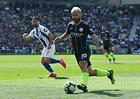 BRIGHTON, ENGLAND - MAY 12:   Sergio Aguero (10) of Manchester City on the attack during the Premier League match between Brighton & Hove Albion and Manchester City at American Express Community Stadium on May 12, 2019 in Brighton, United Kingdom. (MB Media)