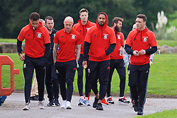 CARDIFF, WALES - Friday, October 7, 2016: Wales' Hal Robson-Kanu David Cotterill, goalkeeper Wayne Hennessey captain Ashley Williams and Hal Robson-Kanu during a team walk at the Vale Resort ahead of the 2018 FIFA World Cup Qualifying Group D match against Georgia. (Pic by David Rawcliffe/Propaganda)