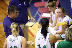 Coach of Slovenian team Zeljko Ciglar with team at basketball qualification match of women division B  between National teams of Slovenia and Netherlands, on August 27, 2008, in Vitranc Hall, Kranjska Gora. Win of NED 83:81. (Photo by Vid Ponikvar / Sportida)