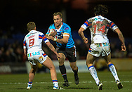 Lee Mossop of Salford Red Devils hits the ball up during the Betfred Super League match at Belle Vue, Wakefield<br /> Picture by Richard Land/Focus Images Ltd +44 7713 507003<br /> 09/02/2018