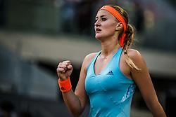 May 13, 2017 - Madrid, Madrid, Spain - KRISTINA MLADENOVIC (FRA) celebrates a point against Simona Halep (ROU) in the final of the 'Mutua Madrid Open' 2017. Halep won 7:5, 6:7, 6:2 (Credit Image: © Matthias Oesterle via ZUMA Wire)
