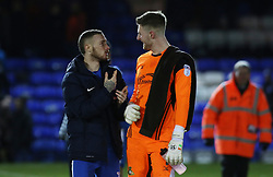Marcus Maddison of Peterborough United and Ian Lawlor of Doncaster Rovers discuss the penalty incident at full-time - Mandatory by-line: Joe Dent/JMP - 01/01/2018 - FOOTBALL - ABAX Stadium - Peterborough, England - Peterborough United v Doncaster Rovers - Sky Bet League One