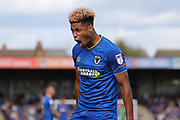 AFC Wimbledon striker Lyle Taylor (33) shouting during the EFL Sky Bet League 1 match between AFC Wimbledon and Shrewsbury Town at the Cherry Red Records Stadium, Kingston, England on 12 August 2017. Photo by Matthew Redman.