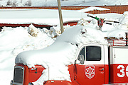 Israel, Hermon Mountain. Israeli fire engine covered with snow
