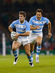 Argentina Winger Santiago Cordero breaks - Mandatory byline: Rogan Thomson/JMP - 07966 386802 - 18/10/2015 - RUGBY UNION - Millennium Stadium - Cardiff, Wales - Ireland v Argentina - Rugby World Cup 2015 Quarter Finals.