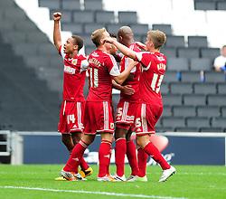 GOAL CELEBRATIONS. Bristol City celebrate Bristol City captain, Sam Baldock's goal  - Photo mandatory by-line: Dougie Allward/JMP - Tel: Mobile: 07966 386802 24/08/2013 - SPORT - FOOTBALL - Stadium MK - Milton Keynes -  Milton Keynes Dons V Bristol City - Sky Bet League One