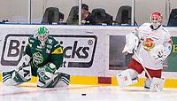 2019-12-14 | Umeå, Sweden: Two goalies warming up before matchstart in HockeyAllsvenskan during the game  between Björklöven and Almtuna at A3 Arena ( Photo by: Michael Lundström | Swe Press Photo )<br /> <br /> Keywords: Umeå, Hockey, HockeyAllsvenskan, A3 Arena, Björklöven, Almtuna, mlba191214
