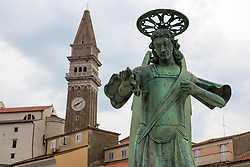 After two months of restoration, the Statue of Archangel Michael, made of copper plate, returned to Piran. The image shows a view of the statue of Archangel Michael and St. George's Parish Church before helicopter placing it on top of the church's clock, on October 15, 2018 in Piran, Slovenia. Photo by Matic Klansek Velej / Sportida