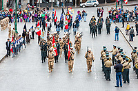 Cuzco, Peru - July 14, 2013: Peruvian  soldiers parading in the Plaza de Armas at Cuzco Peru