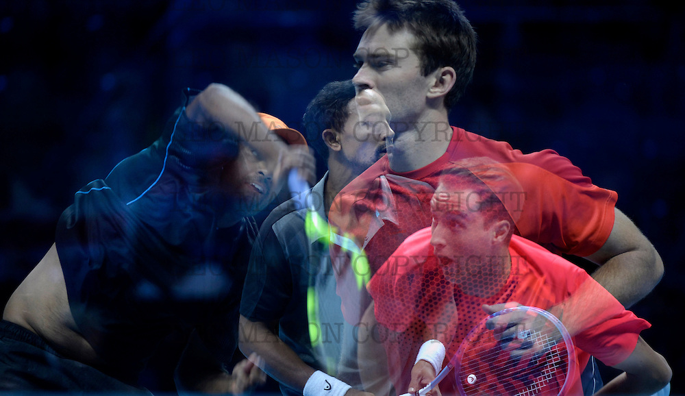 LONDON, ENGLAND - NOVEMBER 20:  (EDITORS NOTE: Multiple exposures were combined in camera to produce this image) Henri Kotinen of Finland and John Peers of Australia in action against Raven Klassen of South Africa and Rajeev Ram USA  during the mens doubles final on day eight of the Barclays ATP World Tour Finals at O 2 Arena on November 20, 2016 in London, England.  (Photo by Split Second/Corbis via Getty Images