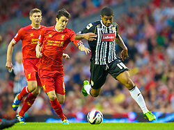 27.08.2013, Anfield, Liverpool, ENG, League Cup, FC Liverpool vs Notts County FC, 2. Runde, im Bild Liverpool's Luis Alberto and Notts County's Joss Labadie during the English League Cup 2nd round match between Liverpool FC and Notts County FC, at Anfield, Liverpool, Great Britain on 2013/08/27. EXPA Pictures © 2013, PhotoCredit: EXPA/ Propagandaphoto/ David Rawcliffe<br /> <br /> ***** ATTENTION - OUT OF ENG, GBR, UK *****