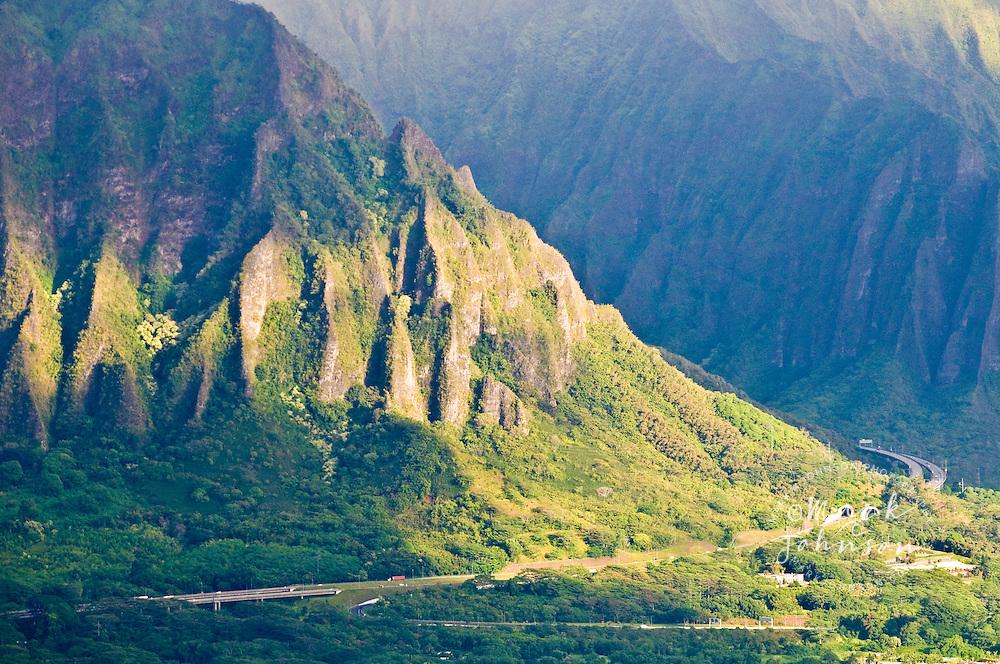 View of the H-3 Freeway, Windward (East) side of Oahu, Hawaii