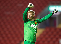 ANFIELD, ENGLAND - Friday, May 2, 2014: Manchester United's goalkeeper Ben Amos celebrates his side's 1-0 victory over Liverpool during the Under 21 FA Premier League Semi-Final match at Anfield. (Pic by David Rawcliffe/Propaganda)