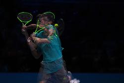 November 17, 2017 - London, England, United Kingdom - Belgium's David Goffin returns to Austria's Dominic Thiem during a men's singles round-robin match on day six of the ATP World Tour Finals tennis tournament at the O2 Arena in London on November 17, 2017. (Credit Image: © Alberto Pezzali/NurPhoto via ZUMA Press)