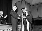 30/11/1992<br /> 11/30/1992<br /> 30 November 1992<br /> Conferring of Honorary Degrees (LL.D.) by the National Council for Educational Awards in Dublin Castle Conference Centre, Dublin. Picture shows Taoiseach Albert Reynolds, T.D. presenting Mr. Kevin Killeen with his degree. Mr. Killeen became CEO of Co. wexford Vocational Education Committee in 1936 in succession to Seamus Wilmot (later Registrar of the National University of Ireland). He transferred as CEO to the City of Waterford VEC in 1941 and filled that post until his retirement in 1974. During his tenure in Waterford the Regional Technical College was established. Mr. Killeen was for 34 years honorary secretary of the Irish Vocational Education Association with another six years as General Secretary.