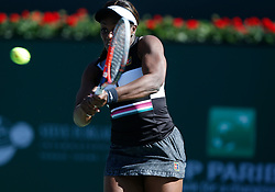 March 8, 2019 - Indian Wells, CA, U.S. - INDIAN WELLS, CA - MARCH 08: Sloane Stephens (USA) hits a backhand during the second round of the BNP Paribas Open on March 08, 2019, at the Indian Wells Tennis Gardens in Indian Wells, CA. (Photo by Adam Davis/Icon Sportswire) (Credit Image: © Adam Davis/Icon SMI via ZUMA Press)