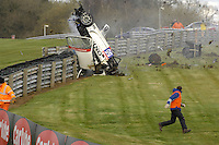 2008 British GT Championship,<br /> Oulton Park, 22nd and 24th March 2008,<br /> Hunter Abbott crash, Ginetta G50,