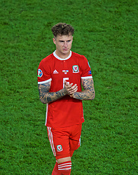 CARDIFF, WALES - Friday, September 6, 2019: Wales' Joe Rodon applauds the supporters after the UEFA Euro 2020 Qualifying Group E match between Wales and Azerbaijan at the Cardiff City Stadium. Wales won 2-1. (Pic by Paul Greenwood/Propaganda)