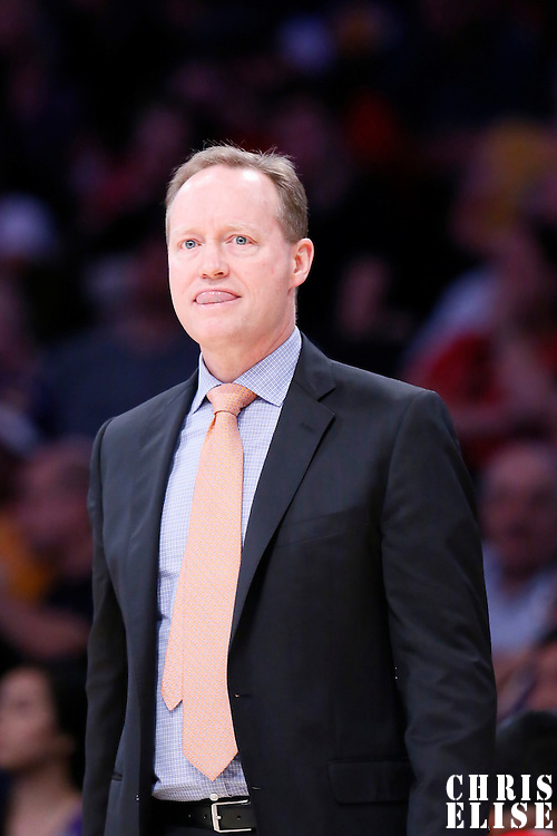 15 March 2015: Atlanta Hawks head coach Mike Budenholzer is seen during the Atlanta Hawks 91-86 victory over the Los Angeles Lakers, at the Staples Center, Los Angeles, California, USA.