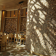 Restaurant inside the casino area. Shells covering the wall.<br /> Lots of pedestrian traffic..
