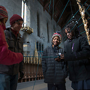 Aaron Asis creates a temporary installation at St. Andrew's Collegiate Chapel in West Philadelphia. The piece is called C-Lines. Asis worked with 5th graders from Penn Alexander School.