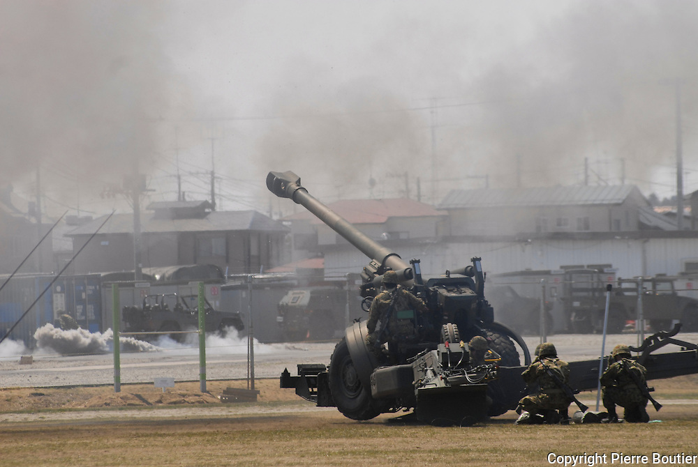 Drill of  ground  self defense  forces artillery corp ,in Fukushima prefecture copy right Pierre Boutier